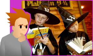 Two witches pore over the prophecy for clues