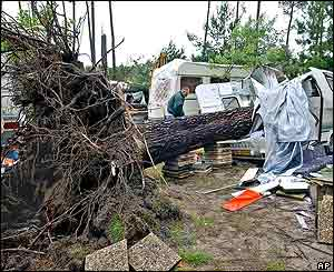 A man looks at his trailer destroyed by a fallen tree at the La Rive campground near Biscarosse