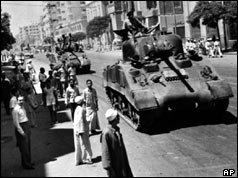 Tanks on the streets of Cairo - July 23 1952
