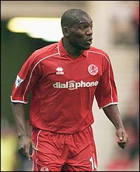 Chelsea's new signing Geremi in action for Middlesbrough