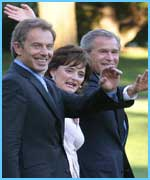 Tony Blair, his wife Cherie and US President George W Bush
