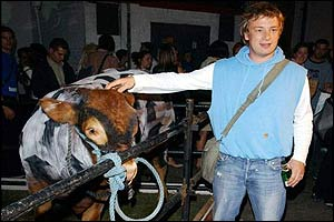 Jamie Oliver with Banksy cow