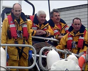 Four of the crew of the Anstruther lifeboat as they return from sea - taken and sent by Jennifer Cameron