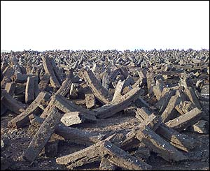 These peat blocks drying in the sun above Cunningsburgh, Shetland, have an unearthly feel - by Richard Lewis, Sandwick