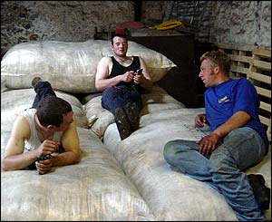 Will Mill, Andy Morris and Ewan Mitchell rest after sheep-shearing at Ardlarach Farm, Rannoch - sent by Rab Robertson