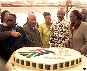 Nelson Mandela presented with a cake from the National African Congress