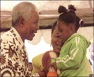 Nelson Mandela meets a disabled girl