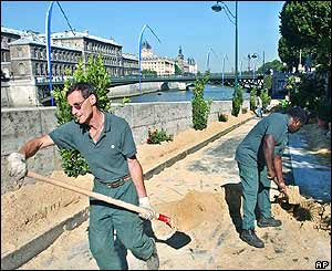 Workers build Paris beach