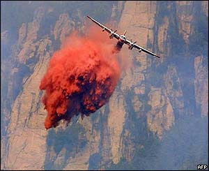 Plane drops fire-retardant chemicals in Gravone valley, Corsica