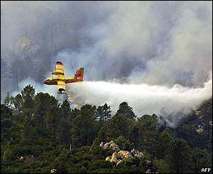 Corsica firefighting with water