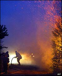 Forest fire raging in Vaestervik in Vaesterbotten, Sweden