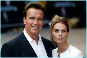 The Terminator himself, Arnold Schwarzenegger and his wife, Maria Shriver arrive to launch the movie