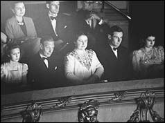 Royal family at theatre, L-R Princess Margaret, King George VI, Queen Elizabeth, Gp Capt Townsend, Princess Elizabeth