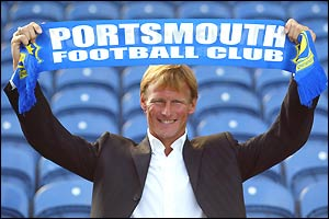 Teddy Sheringham, 37, completes his free transfer move to Portsmouth.