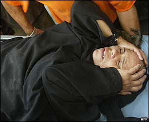 Wounded Palestinian woman