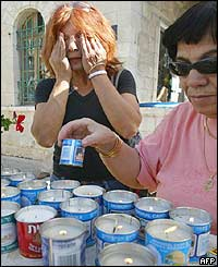 Israeli women light candles for the victims