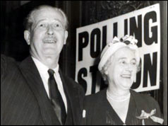 Harold Macmillan after voting on 8 October 1959 with his wife Lady Dorothy