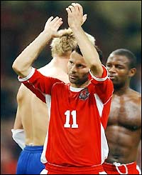 Ryan Giggs applauds the Wales fans at the Millennium Stadium