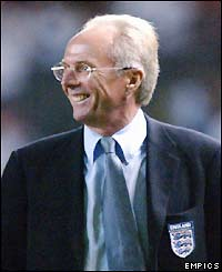 England boss Sven-Goran Eriksson leaves the pitch