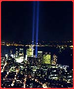 Beams of light where the World Trade Centre once stood