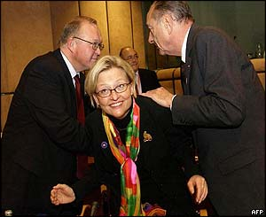 Swedish Prime Minister Goran Persson, Anna Lindh, and French President Jacques Chirac