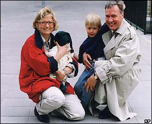 Bo Holmberg and their sons Filip, left, and Daniel