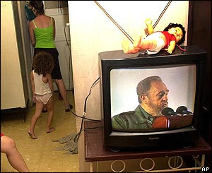 Castro speech on TV in Cuban home