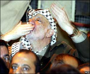 Mr Arafat addressing crowds at his compound in Ramallah