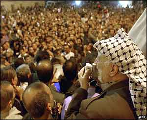 Yasser Arafat speaks to his supporters
