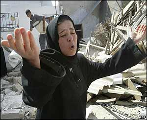 Palestinian woman whose home was demolished by Israeli bulldozers in the Rafah refugee camp