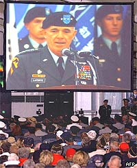 United States Forces' Korea Commander General Leon Laporte delivers the anniversary's opening speech