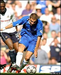 Chelsea's Adrian Mutu scores his side's second goal