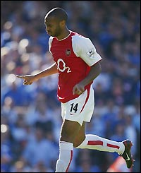 Arsenal's Thierry Henry celebrates scoring