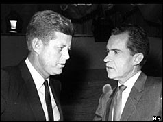 Kennedy and Nixon facing each other