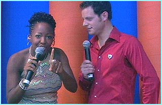 Angellica Bell and Matt Baker presented the gig