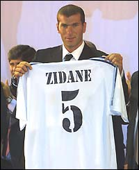 Zidane joins Real Madrid from Juventus for a world-record fee of £46.5m in 2001