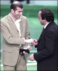 Zidane receives the World Footballer of the Year award for the second time in 2000