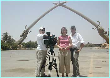 Laura went to Iraq with producer Sinead and camerawoman Julie. This is Procession Way, near where Saddam's palaces were