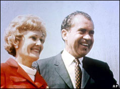 Richard Nixon and his wife, Pat