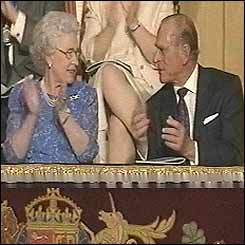 The Queen and Duke of Edinburgh applaud from the Royal Box