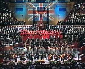 Overview of the Proms, with union flag on backdrop
