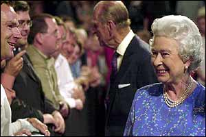 Queen and Duke of Edinburgh meeting some of the Prommers