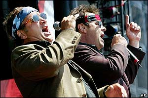 Actors Dan Aykroyd, right, and Jim Belushi, who hosted the event