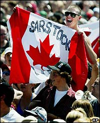 Fan with a Sarstock Canadian flag