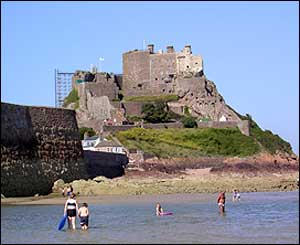 Mont Orgueil castle in Jersey, Channel Islands