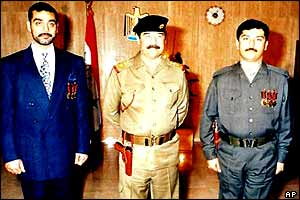 Saddam Hussein and his sons Uday and Qusay
