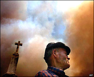 Man is shadowed by a church cross as smoke gathers above him