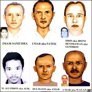 Sketches of Bali suspects still at large on 17 November 2002
