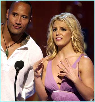 Britney Spears turned up to present an award with wrestling star Dwayne Johnson, aka The Rock