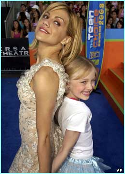 Actress Brittany Murphy in a cheerleader pose with Sweet Home Alabama star Dakota Fanning